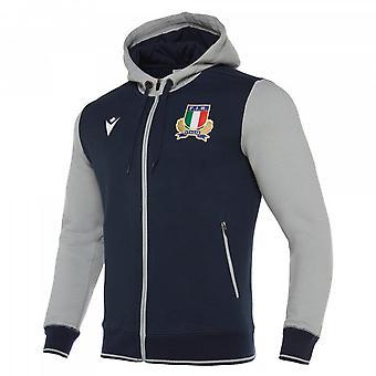 2019-2020 Italy Macron Rugby Travel Hooded Sweatshirt (Navy)