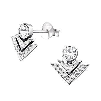 Geometric - 925 Sterling Silver Crystal Ear Studs - W31166X