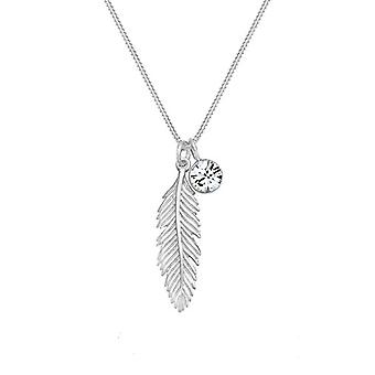 Elli Women's Necklace in Silver 925 Feather Shape with Swarovski Crystal
