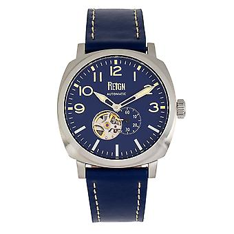 Reign Napoleon Automatic Semi-Skeleton Leather-Band Watch - Silver/Blue