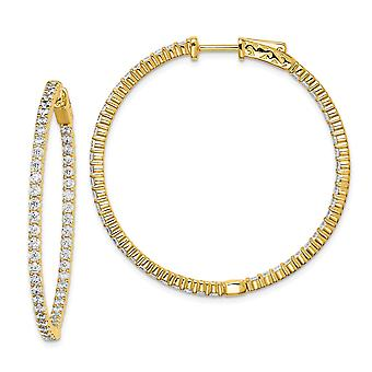 925 Sterling Silver Polished Prong set Hinged hoop 14k Gold Plated With CZ Cubic Zirconia Simulated Diamond Hoop Earring