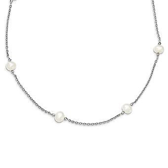 925 Sterling Silver και γλυκού νερού καλλιεργημένα μαργαριτάρι με καθρέφτη χάντρες κολιέ 30 ιντσών κοσμήματα δώρα για τις γυναίκες