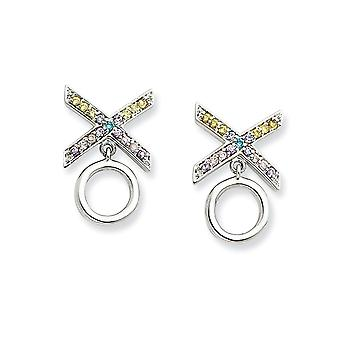 925 Sterling Silver Polished Post Earrings Rhodium plated CZ Cubic Zirconia Simulated Diamond Love and Kisses Earrings M
