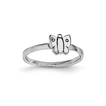 925 Sterling Silver Rh Plated for boys or girls Polished Butterlfy Ring - 1.0 Grams - Size 4