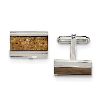 Stainless Steel Polished Brown Wood Inlay Enameled Cuff Links Jewelry Gifts for Men
