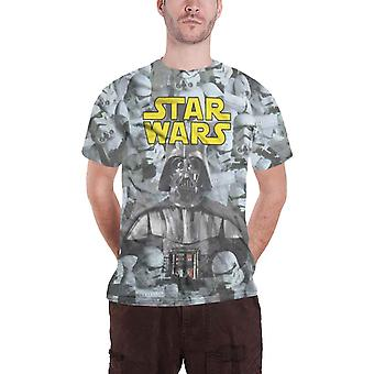 Star Wars T skjorte Darth Vader Stormtroopers offisielle Mens hvitt Slim Fit Sub Dye