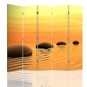 Raumteiler, 5 Panels, Doppelseitig, Leinwand, Zen Steine 4