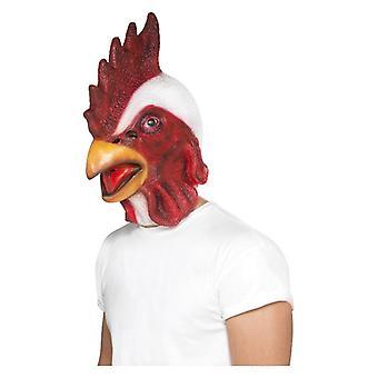 Dorosłych kurczaka maska, biały, pełne obciążenie, lateks Fancy Dress akcesorium