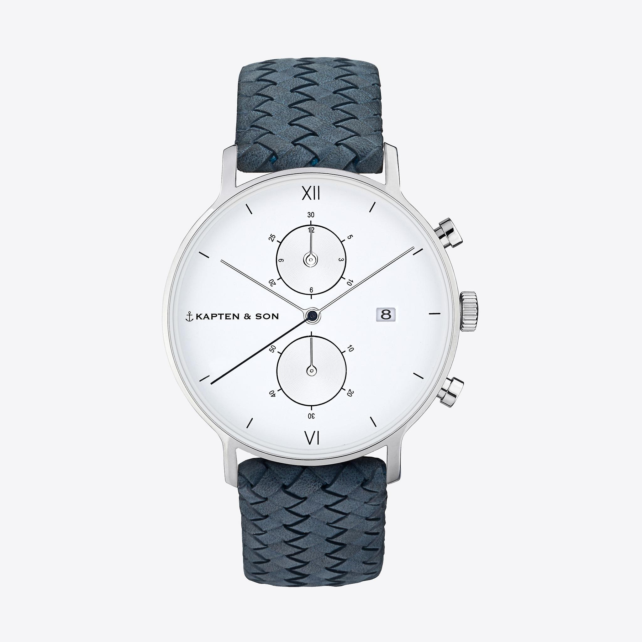Kapten and Son Chrono Light Blue Woven Leather Watch
