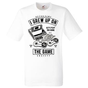 Gamer T-shirt-retro spel, opgegroeid op het spel