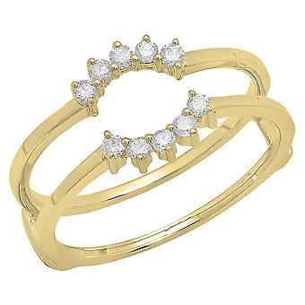 Dazzlingrock Collection 0.20 Carat (ctw) 10K Round Diamond Ladies Wedding Band Double Ring 1/5 CT, Yellow Gold