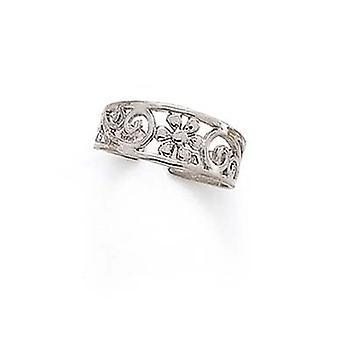 14k White Gold Flower Swirls Toe Ring Jewelry Gifts for Women - 1.4 Grams