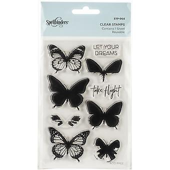 Spellbinders Clear Acryl Postzegels - Gelaagde vlinders