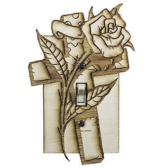 Cross and rose switch plate - raw wood - 4.5
