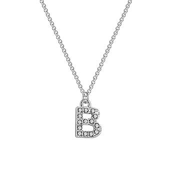Pave initial necklace letter b created with swarovski® crystals