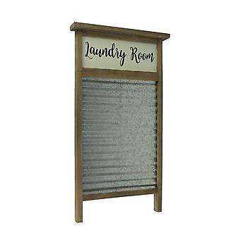 Wood and Metal Vintage Washboard Laundry Room Wall Hanging