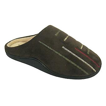 Coolers Mens Abstract Microsuede Fleece Lined Mule Slippers