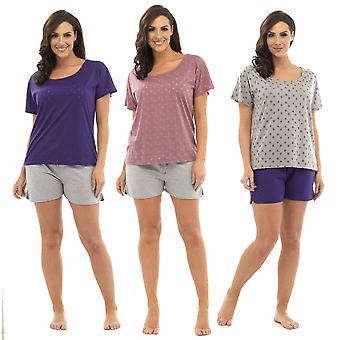 3 Emballere damer Tom frankerne stjerne udbrændthed T-Shirt Top & Shorts pyjamas Lounge slid