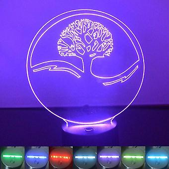 Circle Tree of Life Colour Changing LED Acrylic Light