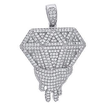 925スターリングシルバーメンズキュービックジルコニアメルティングダイヤモンドシェイプペンダントネックレスチャームジュエリー男性のためのギフト