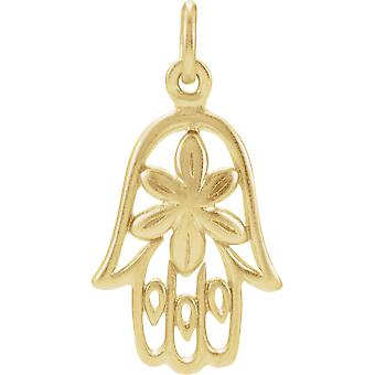 925 Sterling Silver 24k Gold Flashed Polished Hamsa Hand Charm Jewelry Gifts for Women - .6 Grams