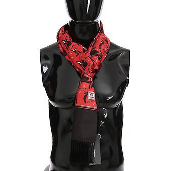 Dolce & Gabbana Red Silk Music Print Scarf