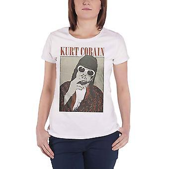 Kurt Cobain T Shirt Cigarette Nirvana new Official Womens Skinny Fit White