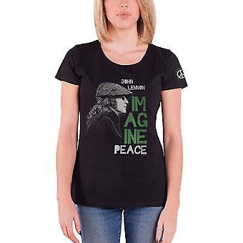 John Lennon T Shirt Imagine Peace Logo new Official Womens Skinny Fit Black