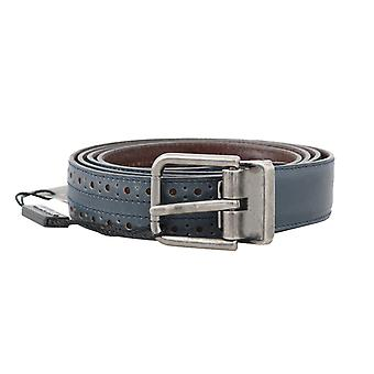 Dolce & Gabbana Blue Perforated Leather Belt