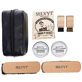 Selvyt 1890 Luxury Shoe Care Kit with Horse hair brushes, cloth and creams