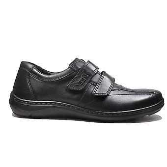 Waldläufer Herwig 478301 174 001 zwart leder mens RIP tape casual trainer schoenen