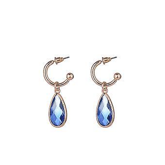 Blue Gem Tear Drop Earrings