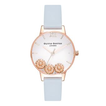 Olivia Burton Watches Ob16ch04 Dancing Daisy Chalk Blue & Rose Gold Leather Ladies Watch