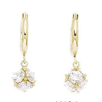 14k Gult Guld CZ Cubic Zirconia Simulerad Diamond Medium Ball Drop gångjärn örhängen åtgärder 24x7mm smycken gåvor för W