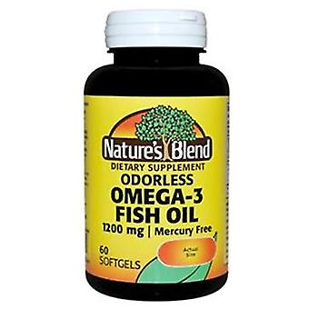 Nature's blend omega-3 fish oil, 1200 mg, mercury free, softgels, 60 ea