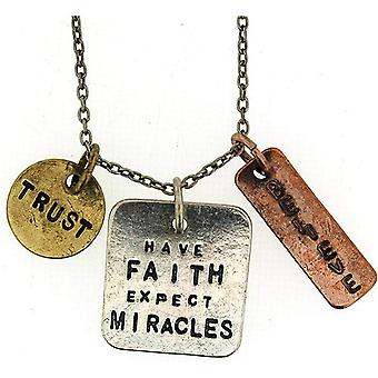 """""""Have Faith, Expect Miracles."""" Triple Charm Tag Pendant Necklace 16""""+3"""" Extender"""