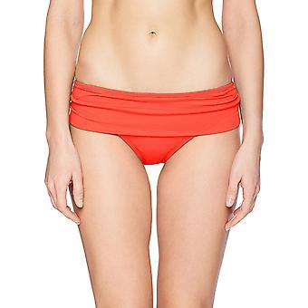 La Blanca Women's Island Goddess Shirred Band Hipster Bikini, Cherry, Size 8.0