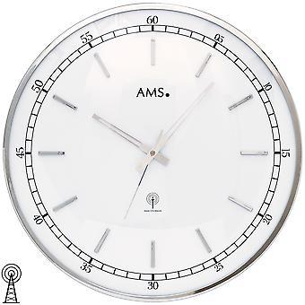 AMS 5608 ساعة ساعة الحائط راديو الإذاعة ساعة ساعة التناظرية الجولة الفضية