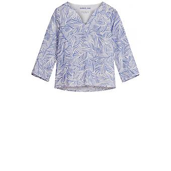 Sandwich Clothing Blue Leaf Patterned Blouse
