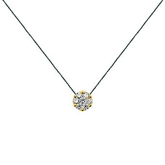 Choker Flower Cluster 18K Gold and Diamonds, on Thread - Yellow Gold, Pine Tree