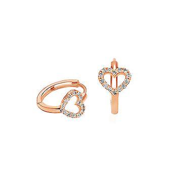 Earrings Hoops Diamond Heart 18K Gold and Diamonds - Rose Gold