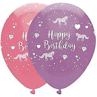 6 Unicorn Fantasy 'Happy Birthday' Latex Party Balloons