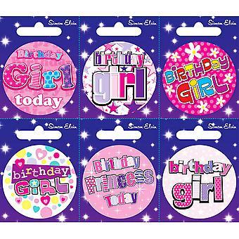 Simon Elvin Various Birthday Girl Small Badges (Pack Of 6)
