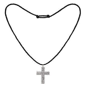 Tresor Paris Necklace - Mechelen Collection - Crystal Encrusted Cross - White - Black Cord