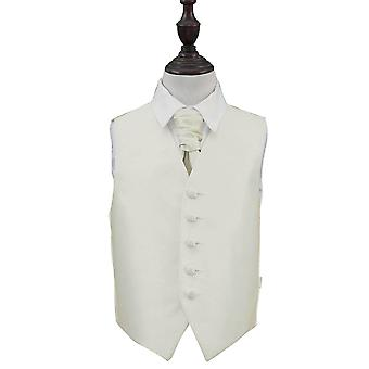 Elfenben Solid sjekk bryllup vest & Cravat sett for gutter