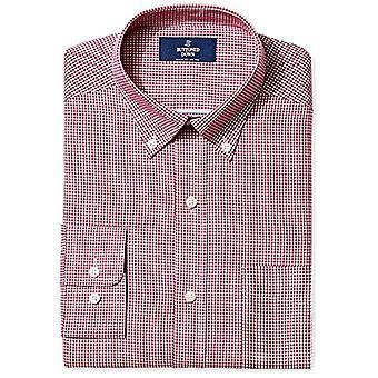 BUTTONED DOWN Men's Classic Fit Button-Collar Non-Iron Dress Shirt, Burgundy ...