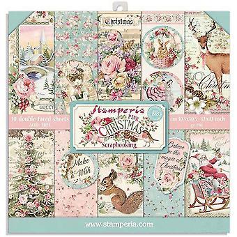 Stamperia Vaaleanpunainen Joulu 8x8 Tuuman Paper Pack