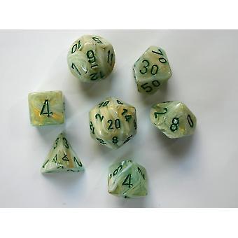 Chessex Polydice Set - Marble Green/dark green
