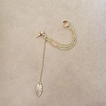 Ear Cuff to Lobe Chain Single Earring in Gold