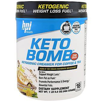 BPI Sports, Keto Bomb, Ketogenic Creamer For Coffee & Tea, French Vanilla Latte,